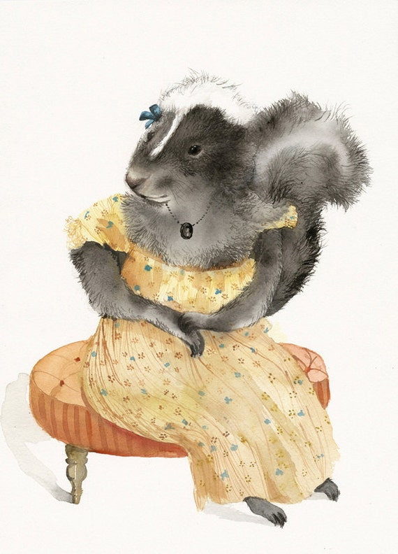 "Skunk art- Skunk Watercolor print - ""Stinky Mae"" animal art-  nursery art, yellow"