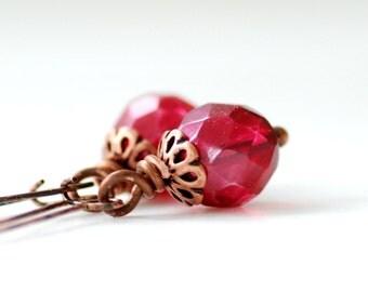 Hot Pink Earrings, Fuchsia Earrings, Fuchsia Wedding, Glass Earrings, Copper Earrings, Long Dangle Earrings, Gift for Her Under 25