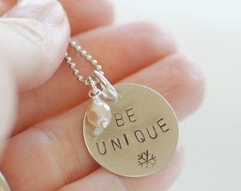 Word Necklace, Winter Jewelry, Snowflake, Inspirational Jewelry, Pendant Necklace, Stamped Necklace, Stamped Pendant - Be Unique