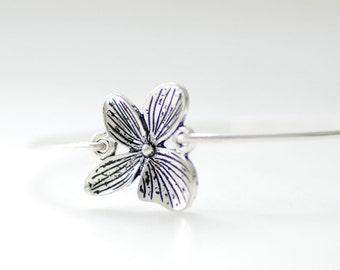 Silver Flower Bracelet, Tropical Jewelry, Bangle Bracelet, Stacking Bracelet, Silver Bangle, Plumeria, Hawaiian, Tropical Vacation, Get Away