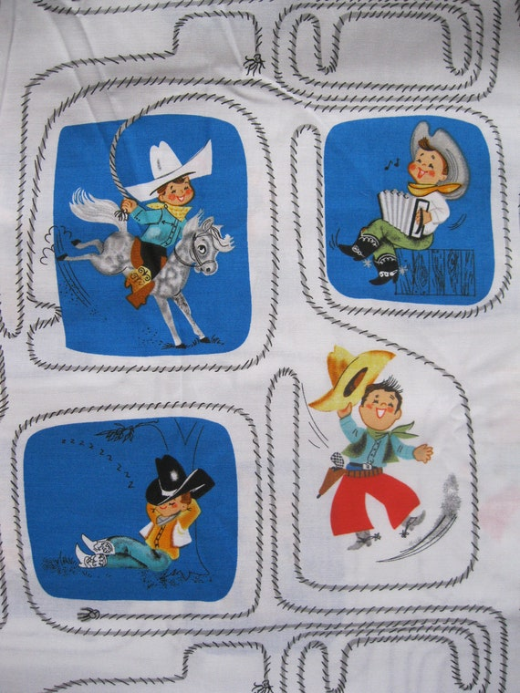 1 yard 1950 39 s style cowboy kids print cotton fabric by for Kids print fabric