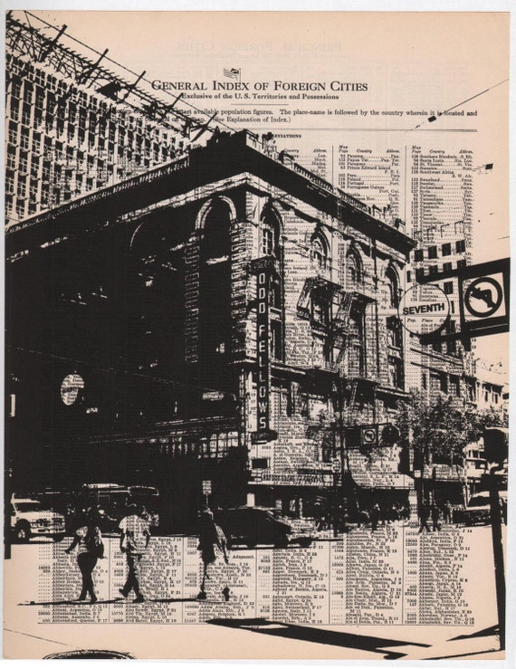 San Francisco - Dark City no1 -- 11 x 14 Book Page Print - Market Street