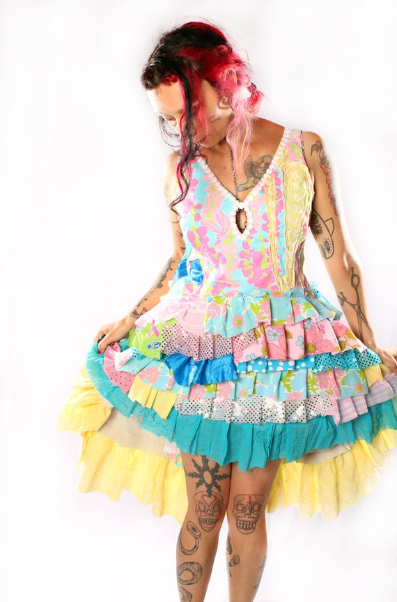 Reserved. Babydoll Dress Lolita Sundress in vintage fabrics Upcycle Retro Ruffles Hippie Flower Child Costume Circus Performer Showgirl
