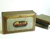 Vintage Tin Box Canco Southwest Theme Gold and Silver Metal Storage Container Desk Organizer Lithographed 1920s Rustic Decor Boho Accessory
