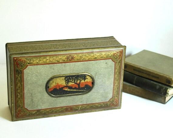 Vintage Tin Box, Southwest Decor, Gold Metal Container, Canco Storage Box, Desk Organizer, 1920s Tin Lithographed Box, Rustic Boho Decor
