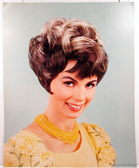 Vintage Beauty Shop Poster Retro Hair Style Of The Month 1960s