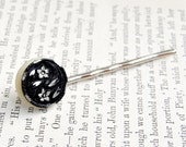 Sale - Bobby Pin, Black Pewter, Floral Swirl, Antique Button Hair Accessory