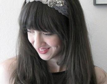 Gray Lace Beaded Headband