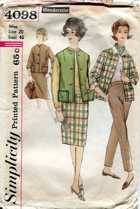 Vintage 1960s Jacket, Vest, Pants and Slim Skirt Pattern, Simplicity 4098, Size 20, Bust 40