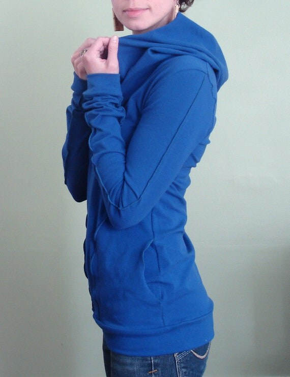 hooded top with pockets Royal Blue