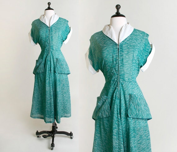 Vintage 1930s Dress - Sheer Kelly Green and White Stripes - Large