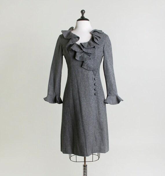 1960s Wool Dress - Heather Gray Mini Wiggle Dress - Medium to Large