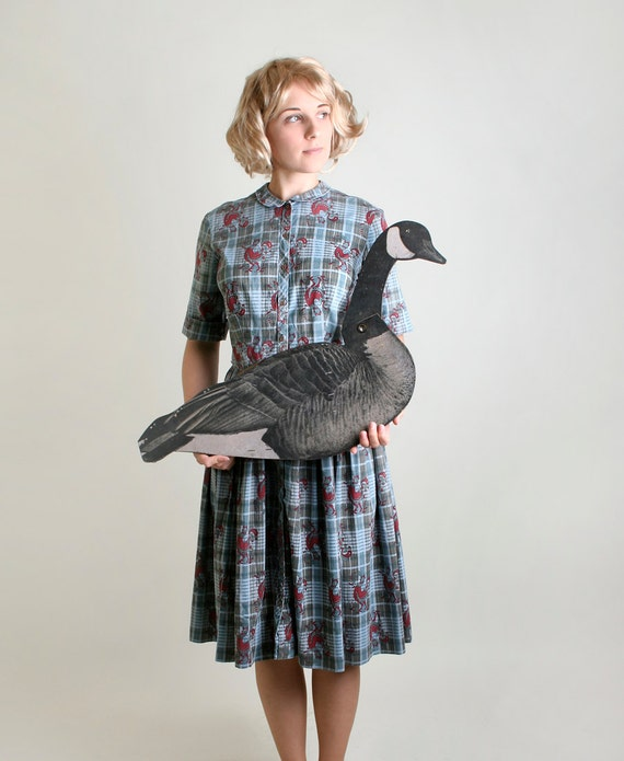 1950s Rooster Dress Vintage Farm Girl Paisley Plaid Dress In