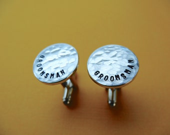 Personalized Cufflinks - Groomsman - Hammered Weathered Texture