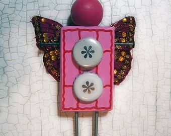 OOAK, Folk ART DoLL, Ornament, Butterfly wings, izze, raspberry beret, Pink Warrior, assemblage, recycle, upcycle, repurposed, dolly