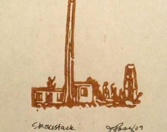 Smokestack Original block print linocut linoprint  art old architecture