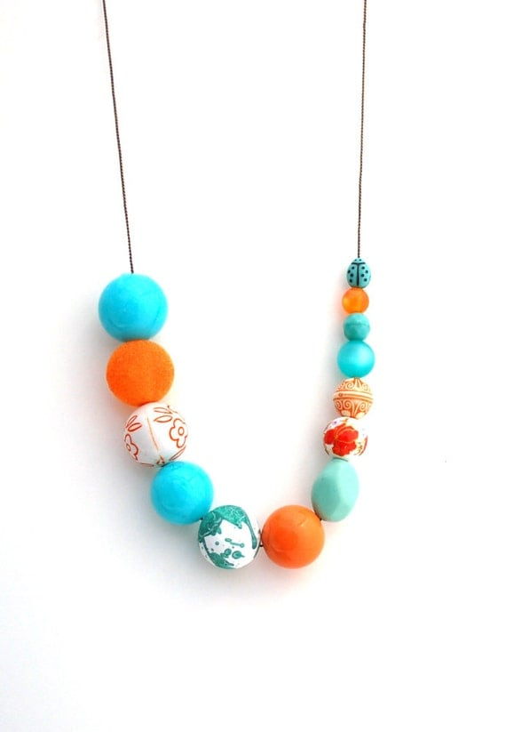 RESERVED FOR  cpatt01 Asymmetrical Orange and Aqua Beaded Necklace