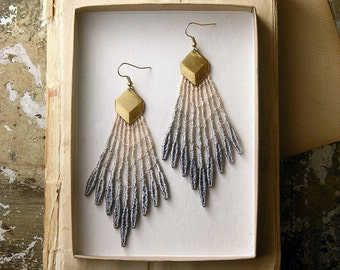 statement earrings - lace earrings- GALATEA- gray ombre - tribal -modern - geometric - spike - gift- boho chic