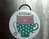 """Kitty & Tea Love 2.25"""" Bottle Opener Keychain"""