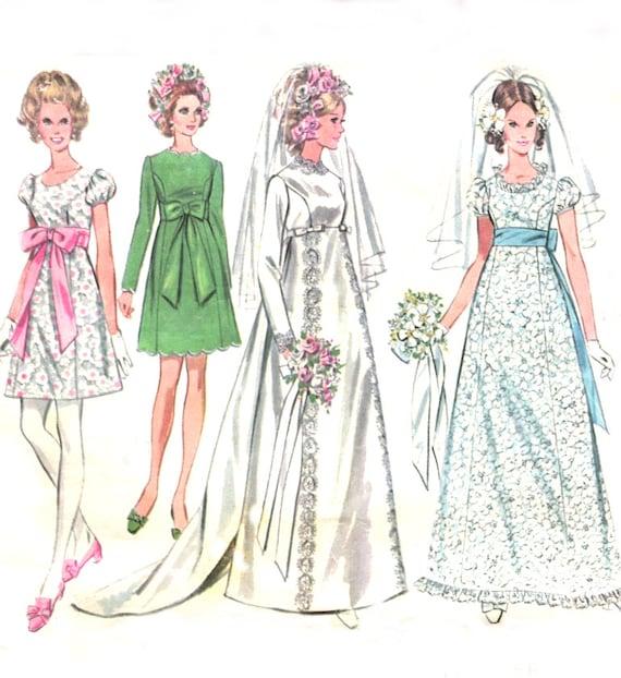 60s empire waist wedding dress mccalls 9652 princess seam for Empire waist wedding dress patterns