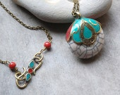 White Necklace, Turquoise, Red Coral, Pendant, boho, Tibet