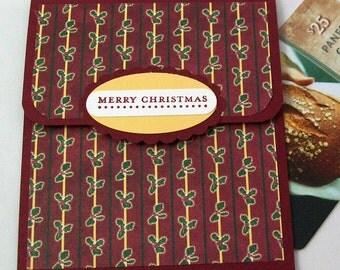 Christmas Gift Card Holder - Christmas Money Card - Holiday Gift Card Holder - Mistletoe and Holly in Cranberry