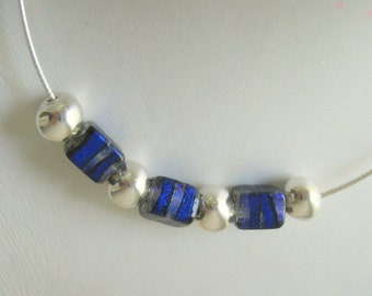 Blue Dichroic Glass Beads with sterling silver necklace