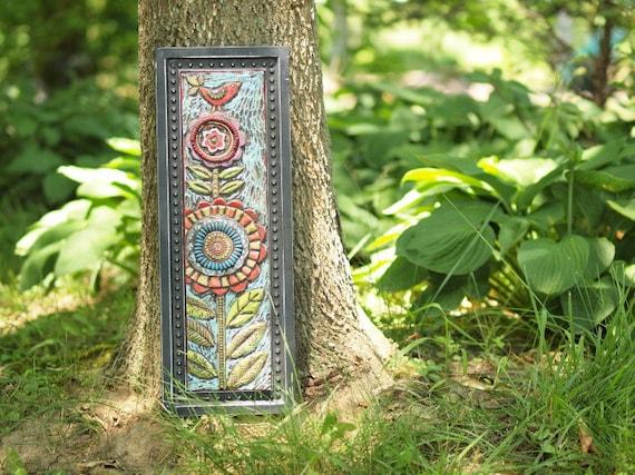 Colorful Wall Art Mosaic Wall Art Mosaic Art Mosaic Tile Colorful Pottery Vertical Art Bird Flower Decor Floral Happy Home Gardener Gift