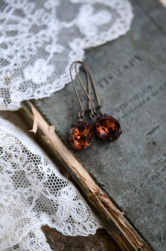 Swarovski Cocoa Brown Rhinestone Earrings - CLEARANCE