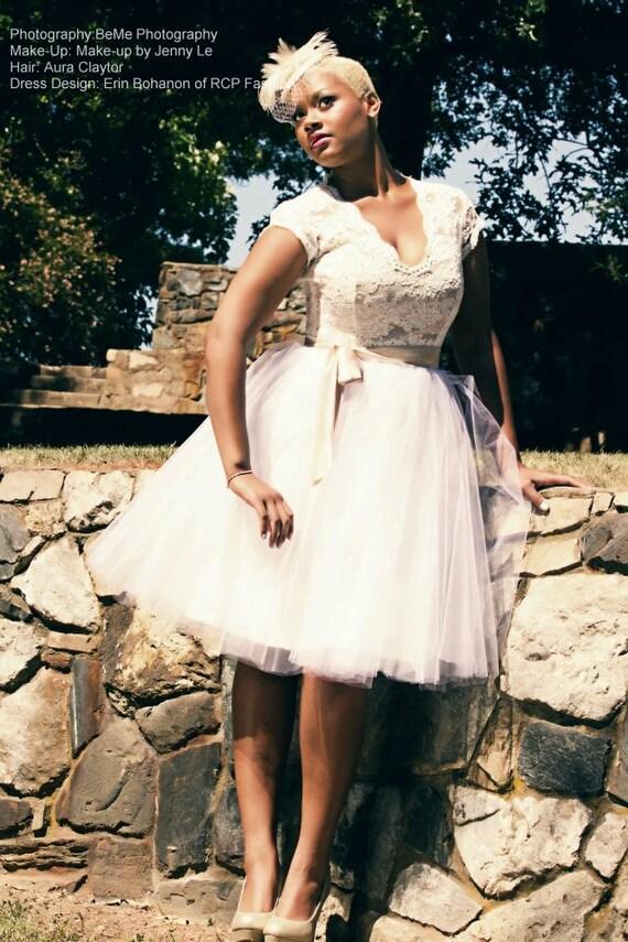 RCB short custom sized 50's lace bodice tulle skirt wedding dress