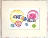 Colorful Caterpillar Print - Matted for 8 x 10 Frame