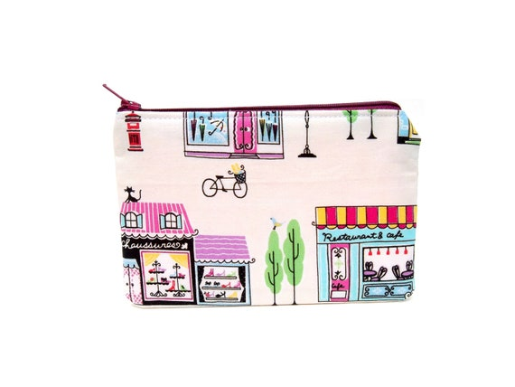 LAST ONE Shopping Mini Zipper Pouch / Cute Camera Bag in Paris Boutique on White