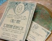Art Deco wedding invitations: art nouveau wedding invitations