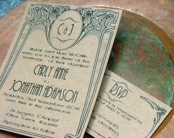 Wedding Invitations: Art Deco Nouveau, Old Hollywood, Vintage Wedding Invitations, Deco Wedding