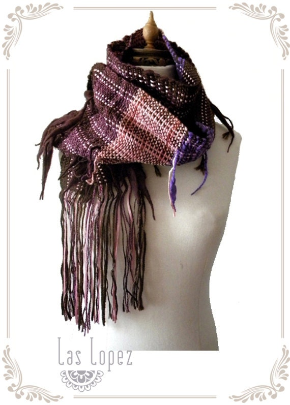 Half-off SALE- SPLASHED - handwoven scarf nekwarmer lariat - in purple pink brown - (I09/076)- Ready to ship