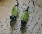 Morella - olive jade and serpentine antiqued gold thistle design victorian inspired steampunk earrings