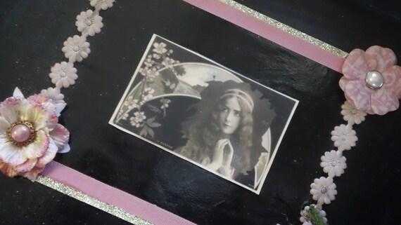 Demure Danita- romantic altered collage art wooden black and pink  Boudoir Tray