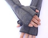 Fleece Grey fingerless gloves, extra long, Recycled fabric, BLACK thread, size LARGE