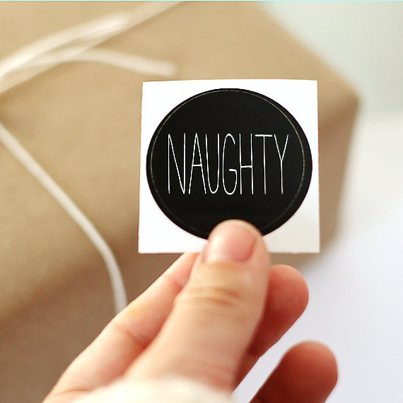 Gift Tags - Christmas Packaging Stickers - Set of 12 Naughty Stickers