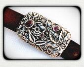 Large Handmade Sterling Silver and Ruby- Flower Garden -BELT BUCKLE - OOAK - New Nouveau