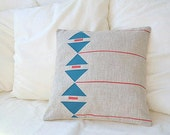 Beige linen pillow case with geometric patterns inspiration