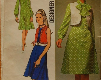 """1970s vintage original Simplicity 9261 sewing pattern for dress and bolero bust 40"""""""
