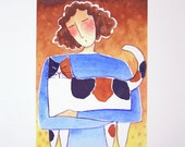 Calico Cat Lady Art/ Limited Edition Giclee Print by Susan Faye