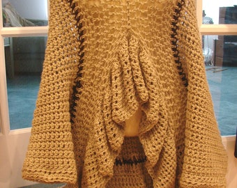 Nude/Tan Bohemian Style Crochet Sweater Dress that Converts to a Shirt or Long or Cropped Shrug  One Size MD-LG