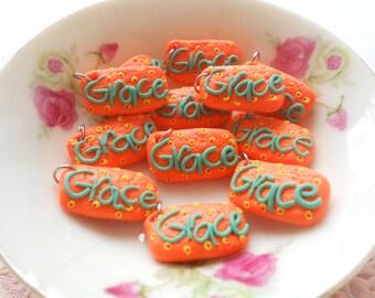 8pcs Mini Word Charms - Grace
