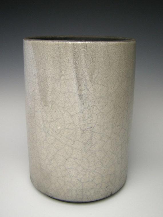 Vase Raku  pottery vase white crackle matt surface raku ceramic vase raku Free shipping