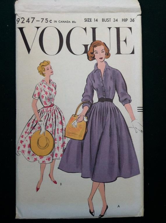 Vintage 1950s Classic Shirt Dress Pattern Vogue 9247 By