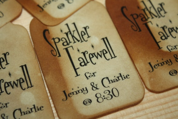 Sparkler Farewell 100 Large Tags Personalize with names and date Sparkle Send off