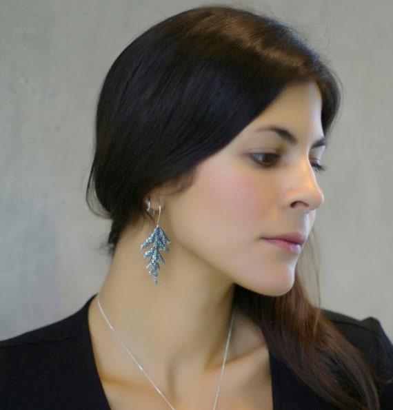 Cedar Earrings Silver leaf botanical