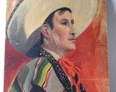 vintage amateur portrait painting of a mexican cowboy
